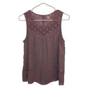 Lucky Brand Purple Sheer Lace Tank Top Ladies XS